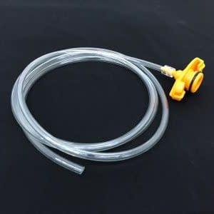 Syringe barrel adapters with hose